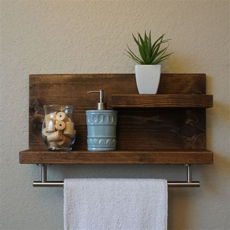 modern rustic  tier bathroom shelf   satin
