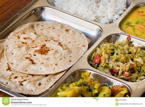 traditional indian dish thali subji rice and chapati