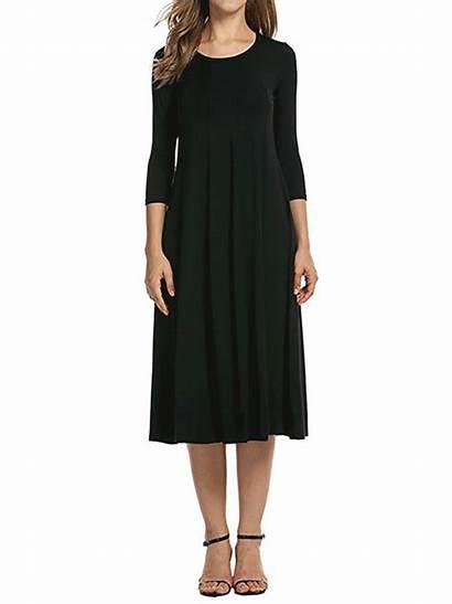 Elegant Cotton Sleeve Neck Daily Crew Dresses