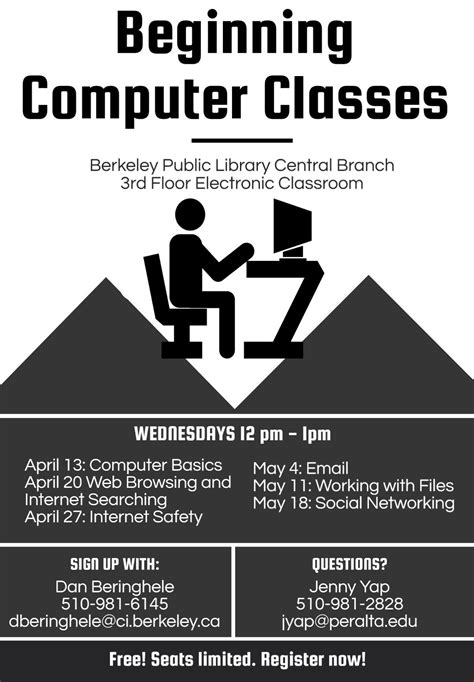 Free beginning computer classes : Library