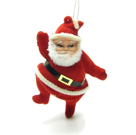 flocked santa ornament vintage dancing santa claus christmas