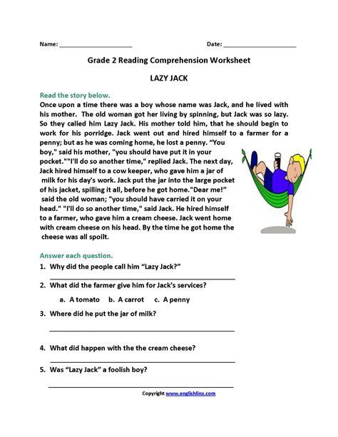 comprehension reading worksheets for 2nd grade valid