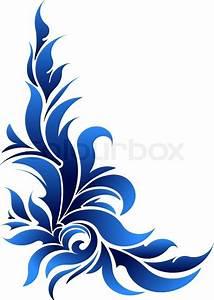 Vector decorative floral corner in blue tones Stock