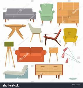 Vector Illustration Of Living Room Furniture In Mid ...