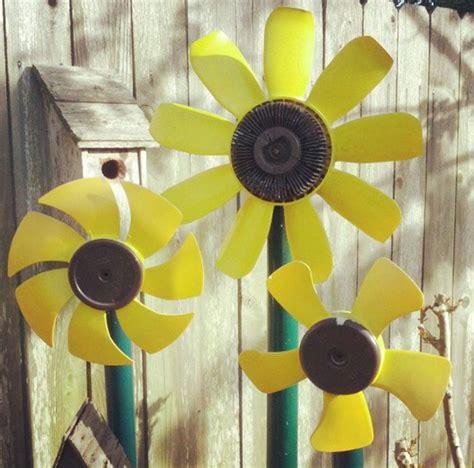 diy recycled car part yard art sunflower flower