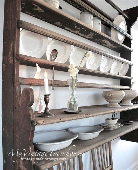 welsh cupboard antique retro vintage farmhouse kitchen platerack plate rack wall shelf shel
