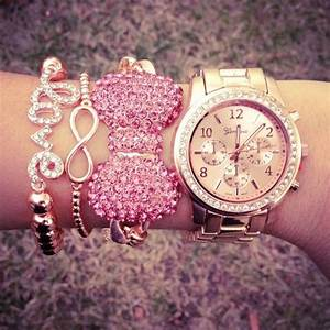 Pretty pink and rose gold bracelet stack | tumblr ...