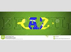 Panoramic Poster Of The Word Brazil Stock Illustration