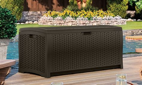 Suncast 73 Gallon Outdoor Patio Storage Box by Outdoor Deck Storage Box Groupon Goods