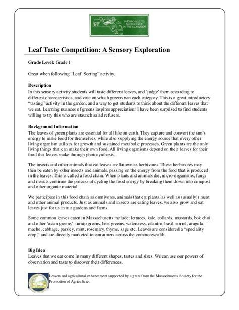 grade 1 school garden lesson plan leaf taste competition
