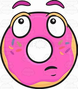 Donut With Wondering Look On Face Emoji Cartoon Clipart