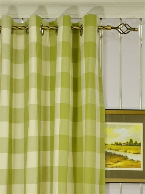 green plaid grommet cotton curtains modern denver by