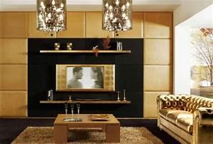 decoration salon moderne en noir pour un interieur glamour With tapis shaggy avec canapé chesterfield amazon