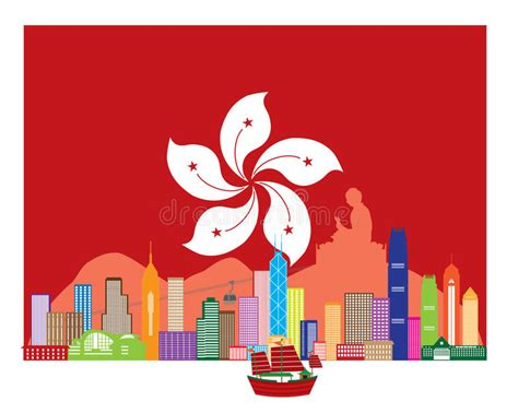 Hong Kong Skyline And Buddha Statue In Hk Flag Vector