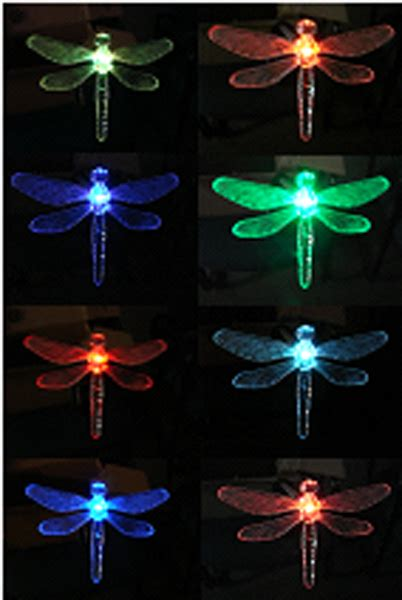 solar dragonfly garden stake color change light set of