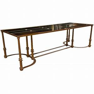 long coffee table with bow metal base for sale at 1stdibs With metal coffee tables for sale