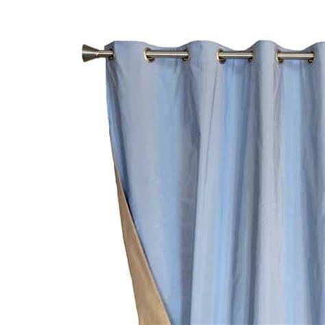 rideau taupe et bleu