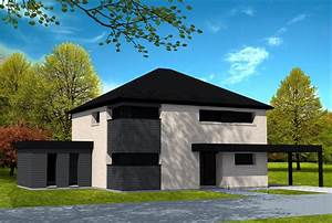 maison moderne type cubique avec toit a 4 pans briques With type de toiture maison 2 toit en thermotop