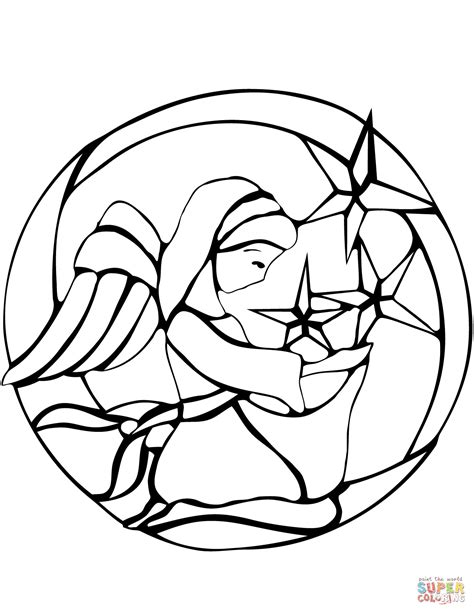 Christmas Angel Stained Glass Coloring Page Free