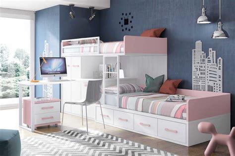 lit superposé avec canapé lit superposé fille avec bureau et rangement glicerio