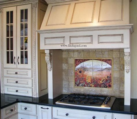 made sunflower kitchen backsplashes tile murals by