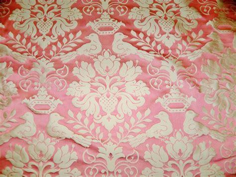 Scalamandre Love Bird Silk Damask Fabric 10 Yards Melon Pink