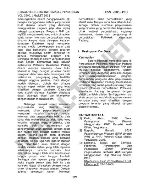 Jurnal ilmiah sistem informasi Perpustakaan berbasis web