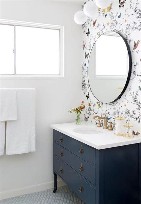 chic ways   wallpaper   guest bathroom