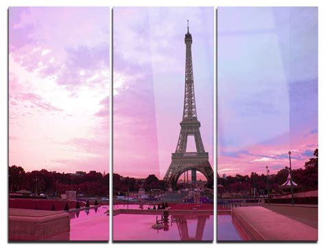 """Indoor lighting fixtures, wall sconces and chandeliers. """"Eiffel Tower in Purple Tone"""" Photo Metal Wall Art, 3 Panels, 36""""x28"""" - Contemporary - Metal ..."""