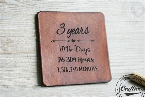 3rd anniversary gift ideas for 3rd anniversary gift leather coasters