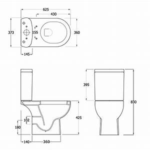 Lily close coupled toilet inc soft close seat ec1003 for Toilet dimensions