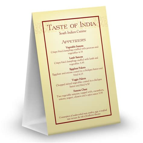 4x6 table tent template indian menu table tent table tent 4x6 table tent