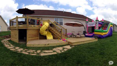 Deck With Slide, Sandbox, And Playhouse