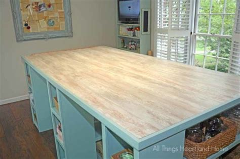 Craft Room Table Using Laminate Flooring