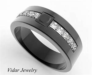 Men39s Princess Cut Black Diamond Black Gold Wedding Band