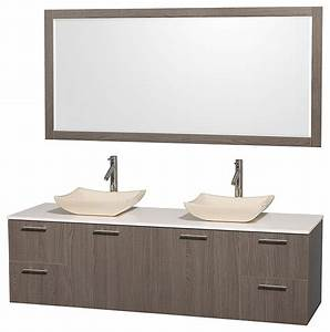 Amare gray oak bathroom vanity 72quot double white man made for Ava bathroom furniture