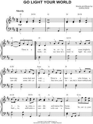 chris rice quot go light your world quot sheet music easy piano