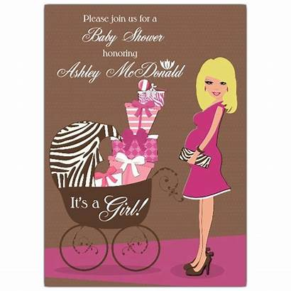 Shower Invitations Blonde Pink Mama Invitation Brown