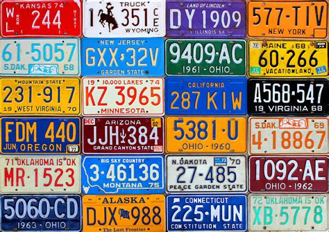 license plates   usa  colorful american history mixed media  design turnpike