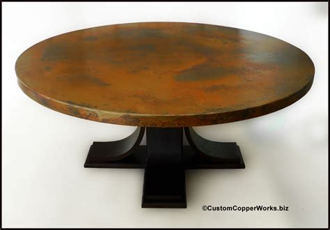 large round pedestal dining table large round copper top dining table oak wood pedestal