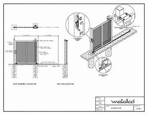 sliding gate design autocad drawing gate designs artt With driveway gate plan view diagrams drawings electric gate layouts