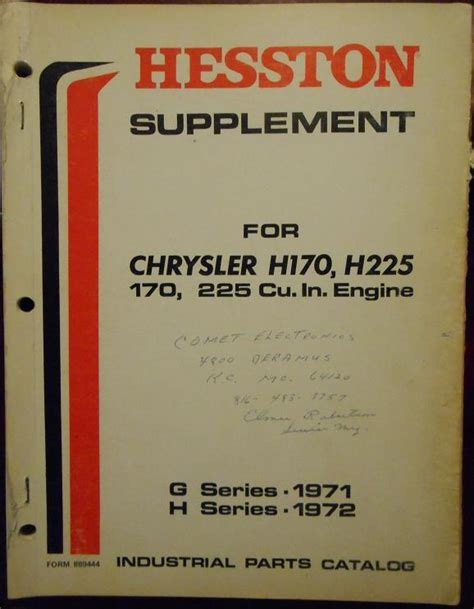 Chrysler Industrial Engine Parts by Chrysler H170 H225 Industrial Engines Parts Manual Other