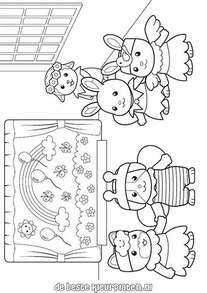 Coloring Calico Critters Pages Sylvanian Families Printable