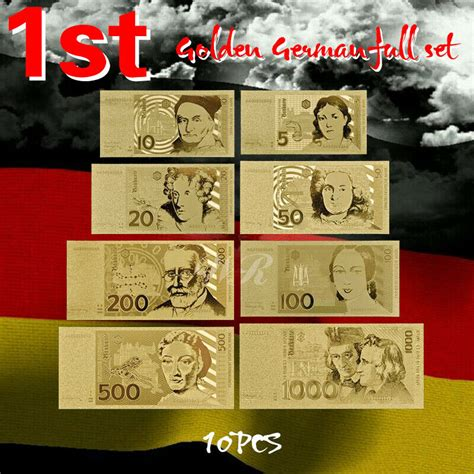 wr gold deutsche banknote set 5 10 20 50 100 200 500