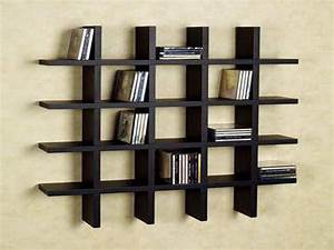 Modern Black Acrylic Wall Shelf With 5 Racks Furniture