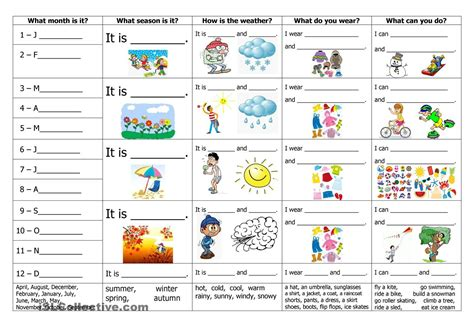 weather worksheets year 9 months seasons weather clothes and activities