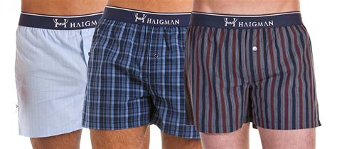 Mens Haigman Woven Printed 100% Cotton Boxer Shorts