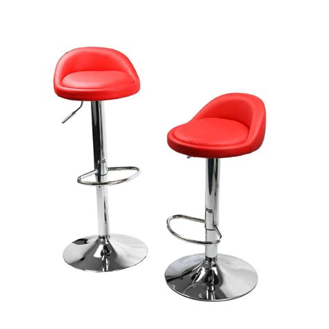 set of 2 leather bar stools swivel dinning counter