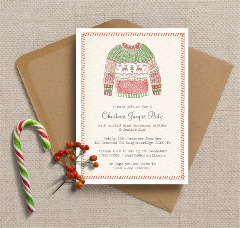 new printed printable festive christmas party invitations