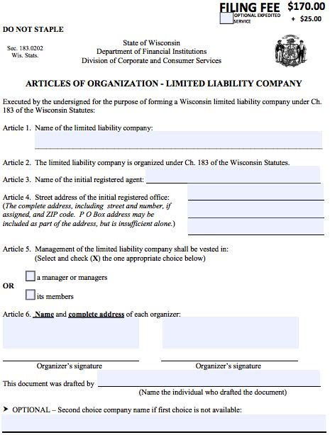 llc articles of organization how to start a domestic llc in wisconsin articles of organization